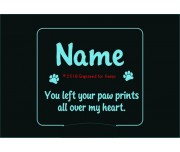 You Left Your Paw Prints All Over My Heart Personalized Memorial Night Light