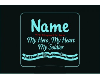 My Hero My Heart My Soldier Personalized Night Light