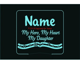 My Hero My Heart My Daughter Personalized Night Light