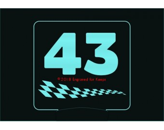 Checkered Stripe Race Number Night Light