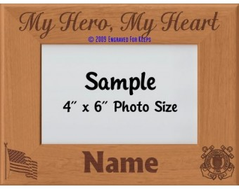 Coast Guard My Hero My Heart Personalized Picture Frame