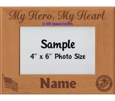Marine My Hero My Heart Personalized Picture Frame