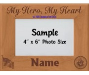 Navy My Hero My Heart Personalized Picture Frame