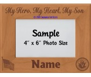Navy My Hero My Heart My Son Personalized Picture Frame