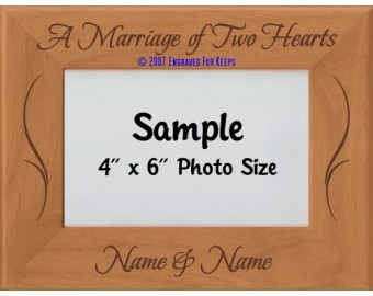 A Marriage of Two Hearts Personalized Wedding Picture Frame